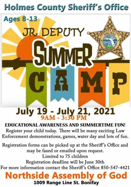 Holmes County Sheriffis Office Jr Deputy Summer Camp