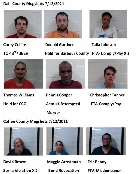 Dale County/Coffee County Mugshots 7/12/2021