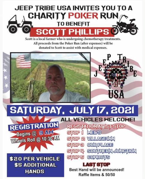 Jeep Tribe USA Invites you to Charity Poker Run For Scott Phillips