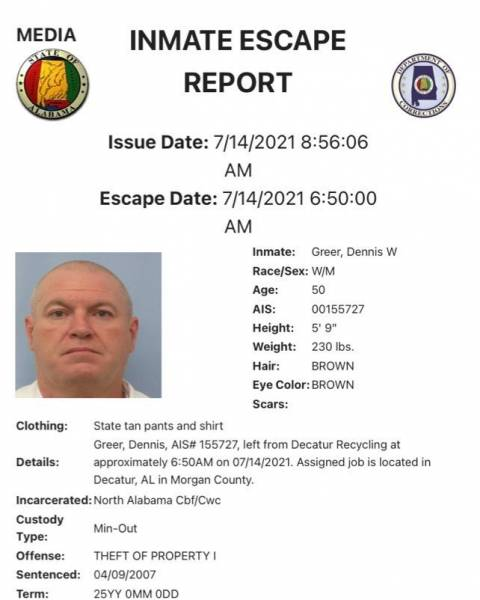 Alabama Department of Corrections Issued an Alert for an Escaped Inmate