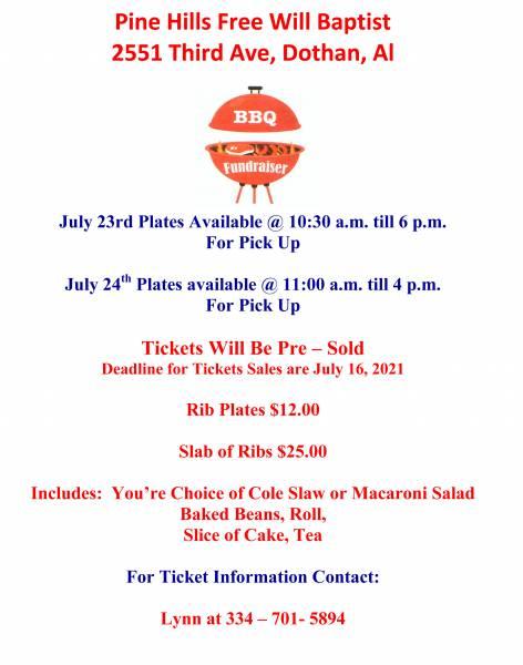 Pine Hills Free Will Baptist Church BBQ Fundraiser