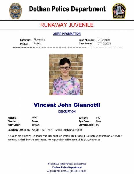 Dothan Police Runaway Juvenile