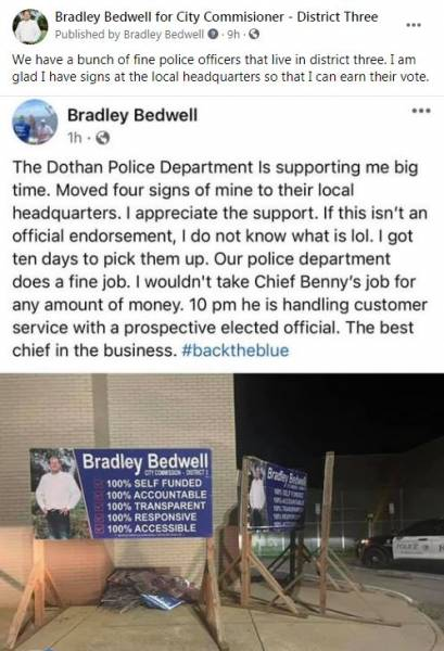 Bedwell's Campaign Signs Moved to Local Police Headquarters by the Dothan Police Department