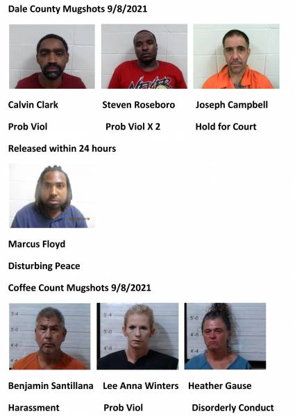 Dale County/Coffee County Mugshots 9/8/2021