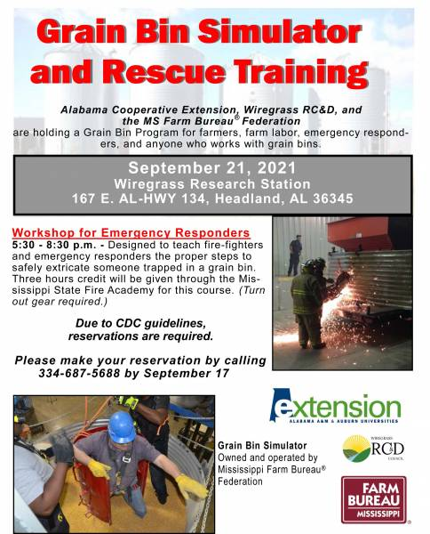 Grain Bin Rescue Training for Firefighters- Headland Research Station Sept 21