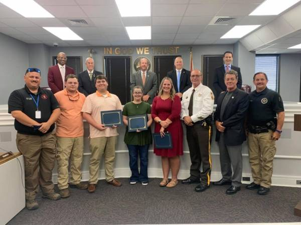 Houston Sheriff's Office Personal and Volunteer Firefighters were Recognized and Honored for their Assistance in the Tornado Outbreak Last Week