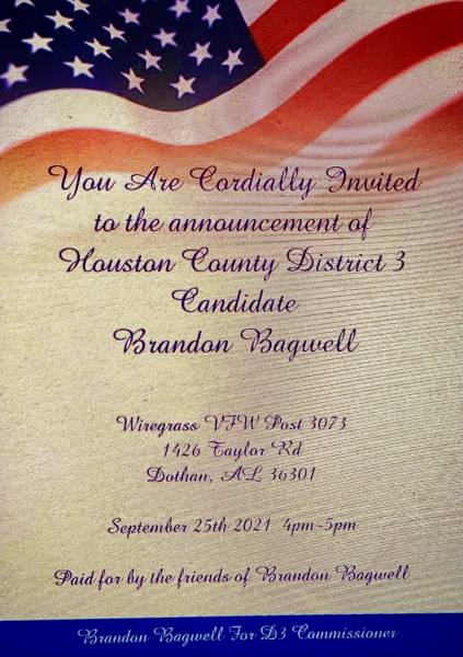 Brandon Bagwell Announcement  Houston County Commission