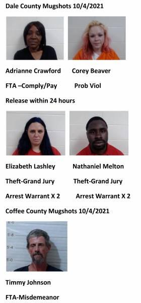 Dale  County/Coffee County Mugshots 10/4/2021