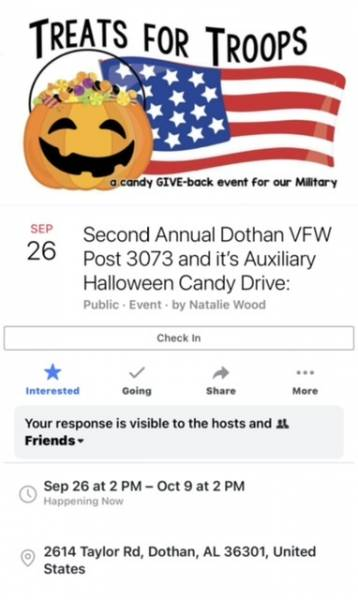VFW post 3073 Candy Drive For The Troops