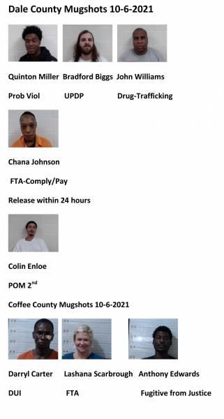 Dale County/Coffee County Mugshots10/6/2021