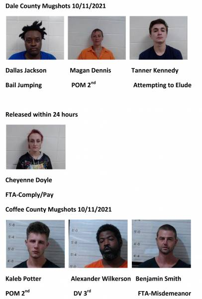 Dale County/Coffee County Mugshots 10/11/2021